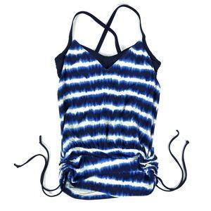 Athleta Del Mar Side Ruch Bathing Suit Tie Dye